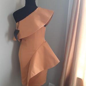 by Aqua Structured Asymmetric TAN Dress